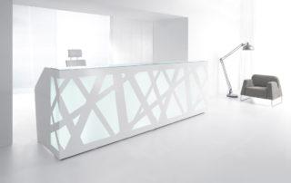 Design Empfangstheke Rezeptionstheke mit RGB-Beleuchtung und Glasauflage