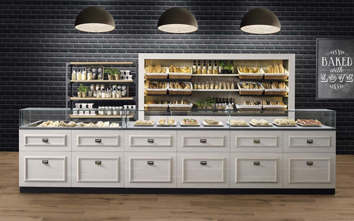 moderne Baeckerei Einrichtung Parquet mit Brotkörben und Glasaufsatz Anthrazit / Weiß